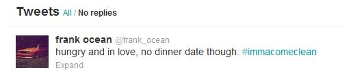Frank Ocean's tweet confirming his relationship with Willy.