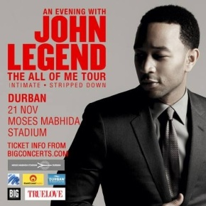 "Durban Date Added For John Legend's ""All Of Me"" SA Tour"
